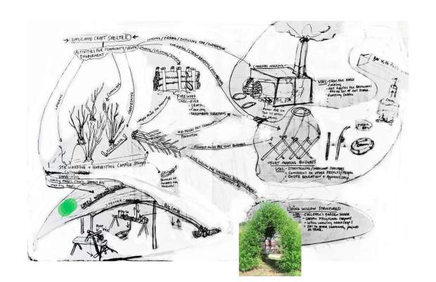 this is a map of activites and value-adding products made from branchwood.