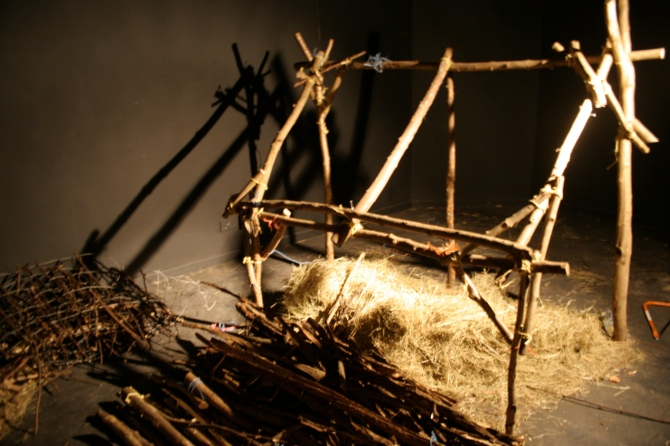 The Farm Shelter – 2006 – bailer twine, local coppiced hazel wood, goat willow bark, local hay and nails.