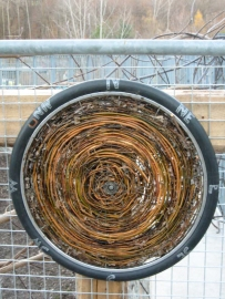 "2' x 2' x 2"" bike wheel and willow, 2013 (Evergreen Brick Works, Toronto)"