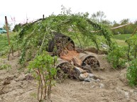 but we will see what the bees think, on a hill side in heart lake conservation area within brampton. the living willow structure is to provide shade, stability and fodder for bees, and the native rose is to detract vandals and also provide fodder.