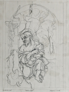 """1457-1504. 17""""-12"""". pencil on paper."""