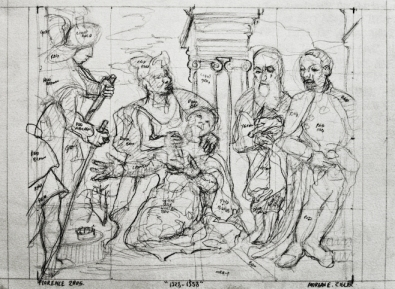 """1528-1558. 17""""-12"""". pencil on paper."""